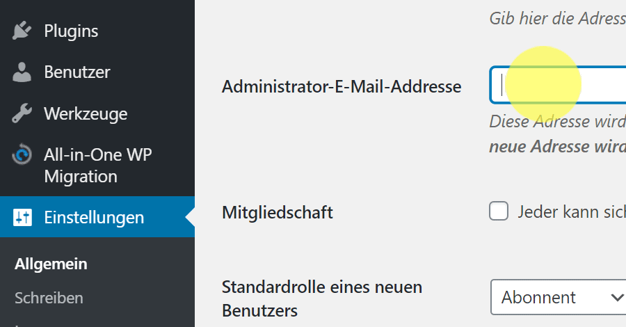 In-WordPress-hinterlegte-E-Mail-(Administrator-E-Mail)-ändern2