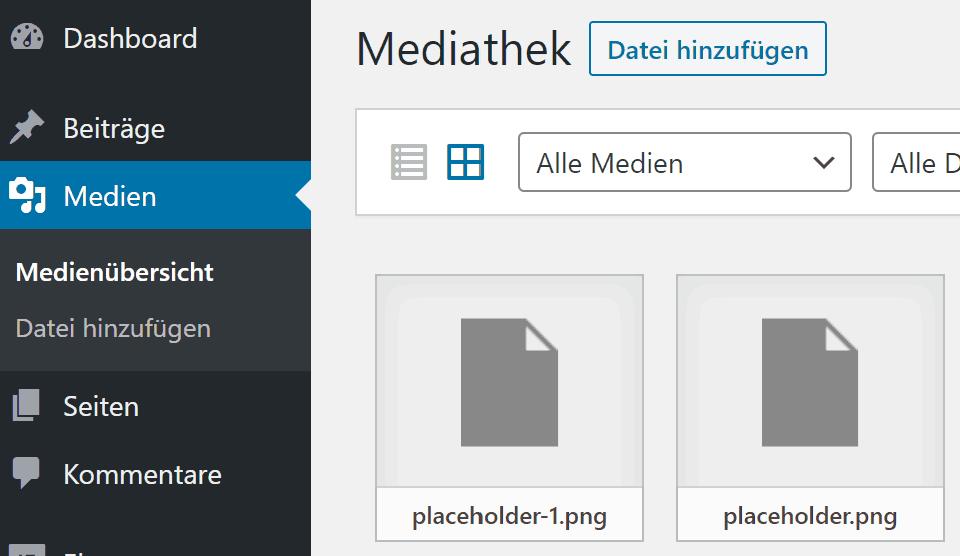 Medien unter WordPress hinzufügen oder löschen